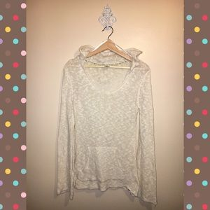 ROXY light knit cream sweater w/ hood size Medium